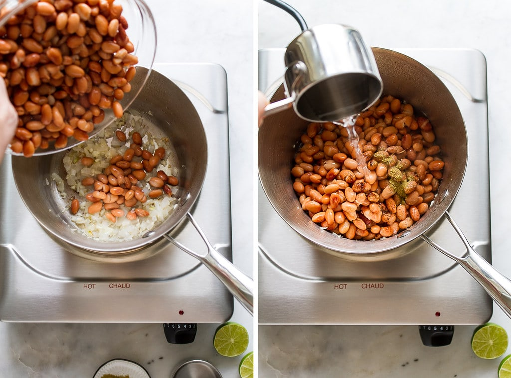 side by side photos showing the process of making refried beans using canned beans on the stovetop.
