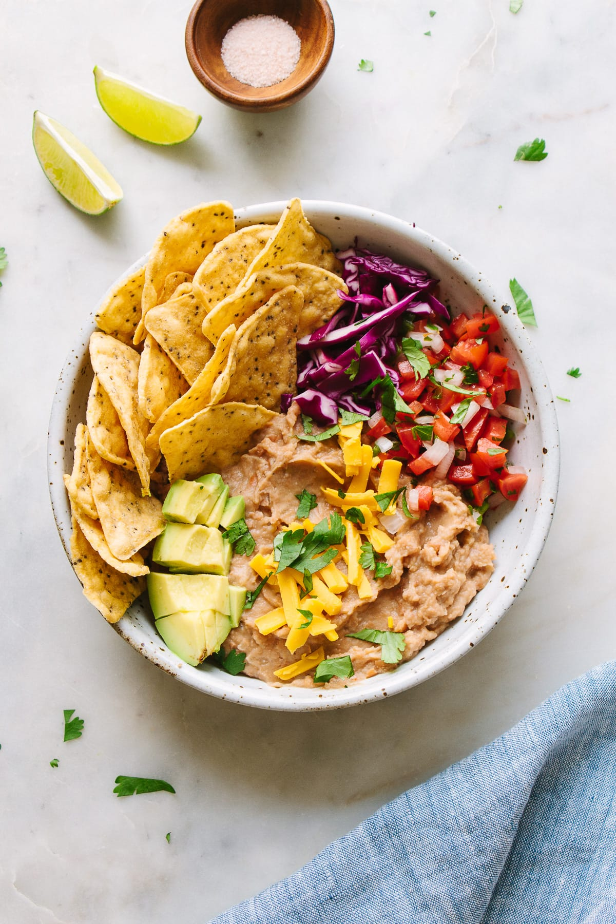 top down view of easy vegan nacho bowl.