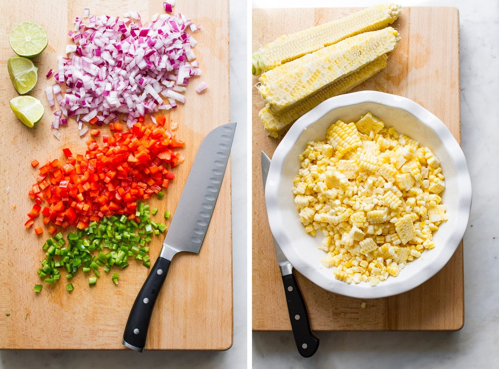 side by side pictures showing the process of dicing and shucking corn off the cob.