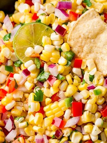up close view of fresh corn salsa.