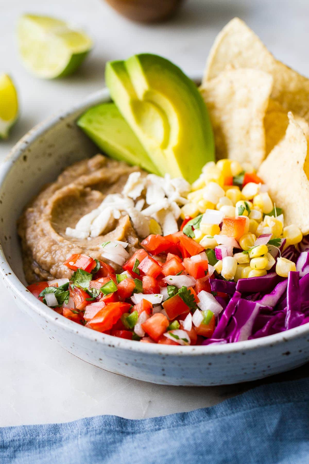side angle view of easy vegan nacho bowl.