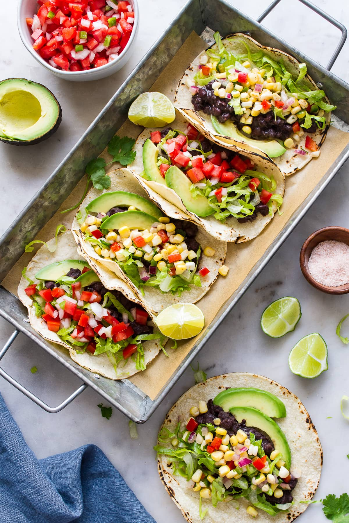 top down view of easy black bean tacos on a serving tray.