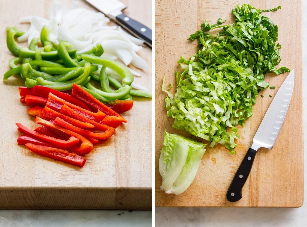 side by side view of fresh cut veggie fajitas and shredded romaine for vegan burrito bowl.