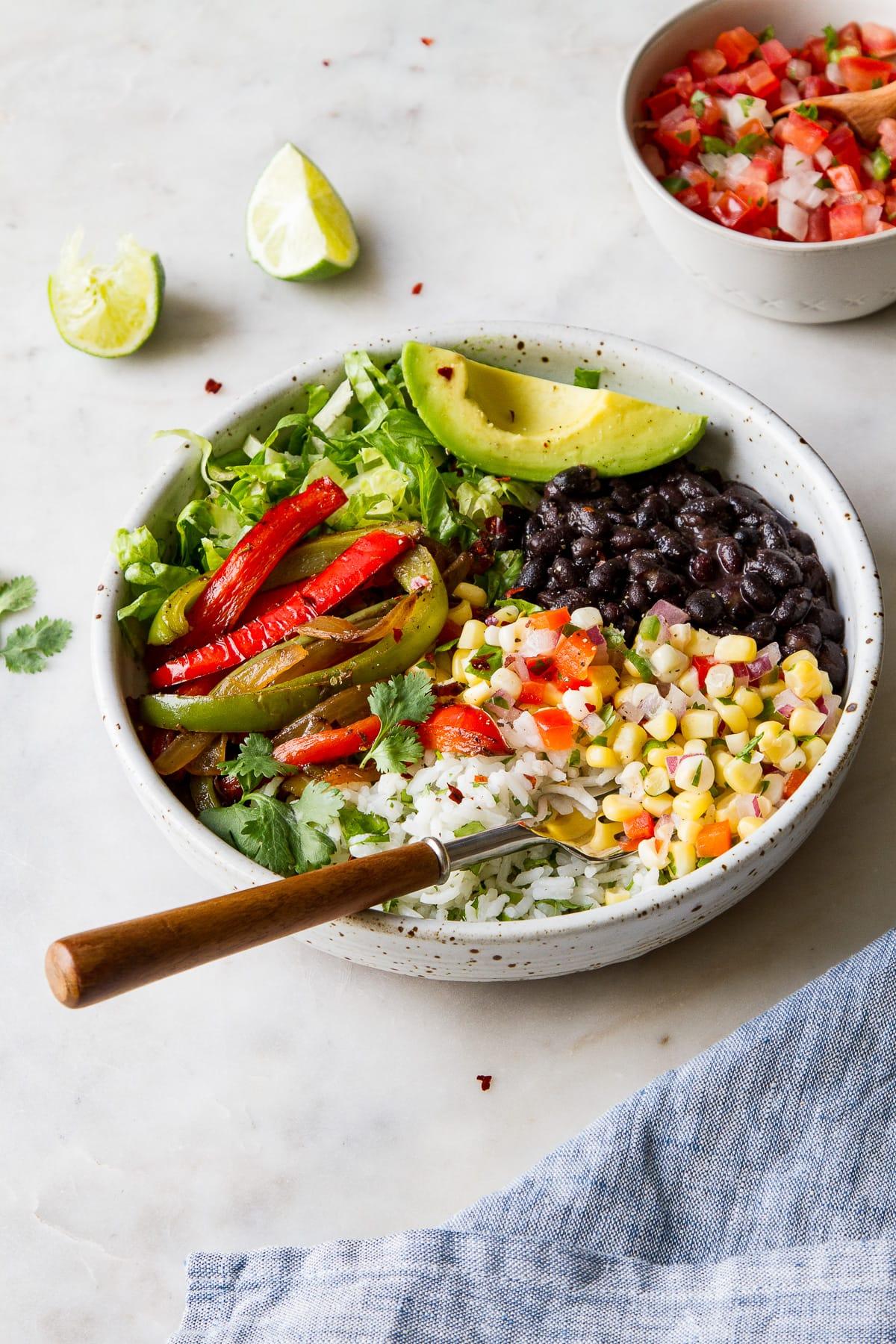 side angle view of vegan black bean burrito bowl.