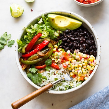 top down view of vegan black bean burrito bowl.