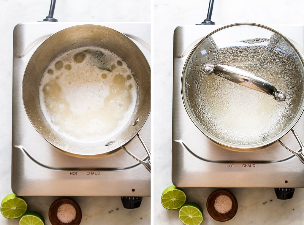 side by side photos showing the process of boiling and simmering cilantro lime rice.