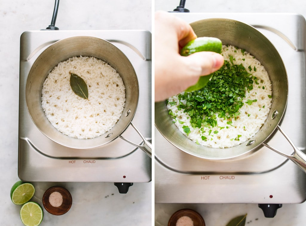side by side photos of the end process of making cilantro lime rice.