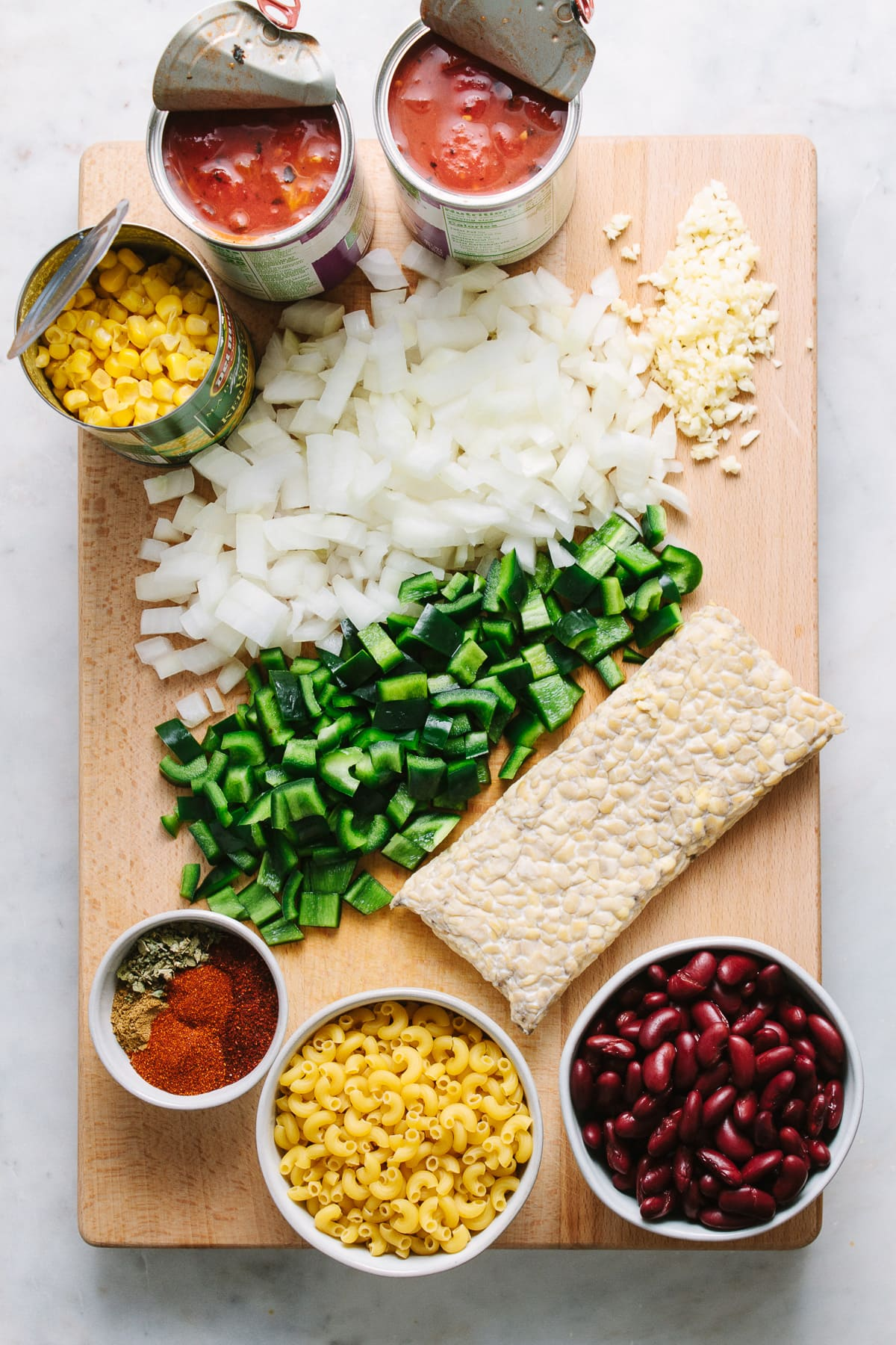 top down view of ingredients needed to make the best one pot vegan chili mac.
