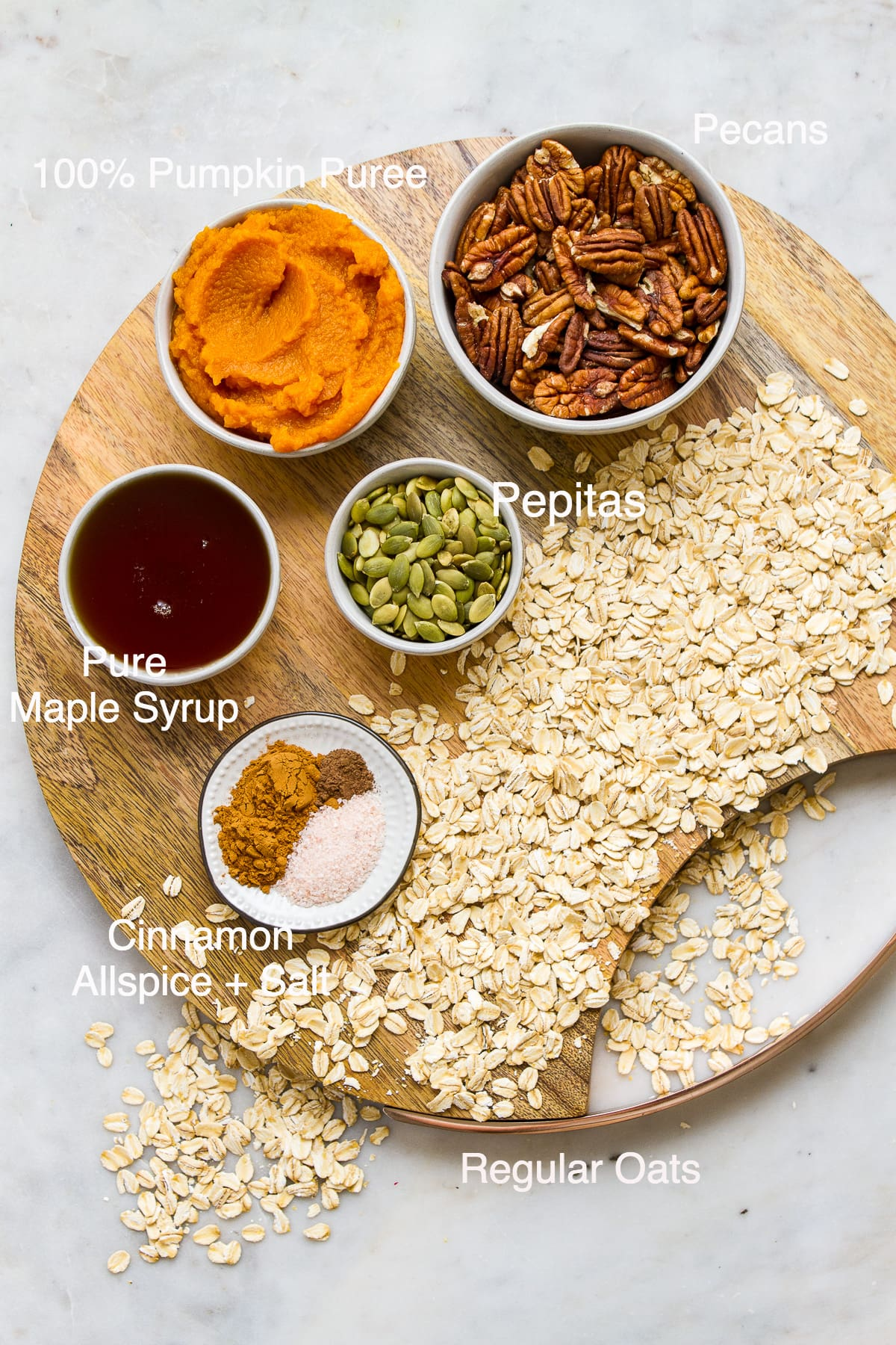 top down view of all the ingredients needed to make the best pumpkin granola.