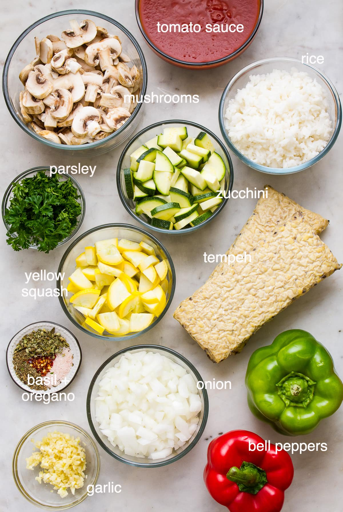 top down view of ingredients needed to make the best vegan stuffed peppers.