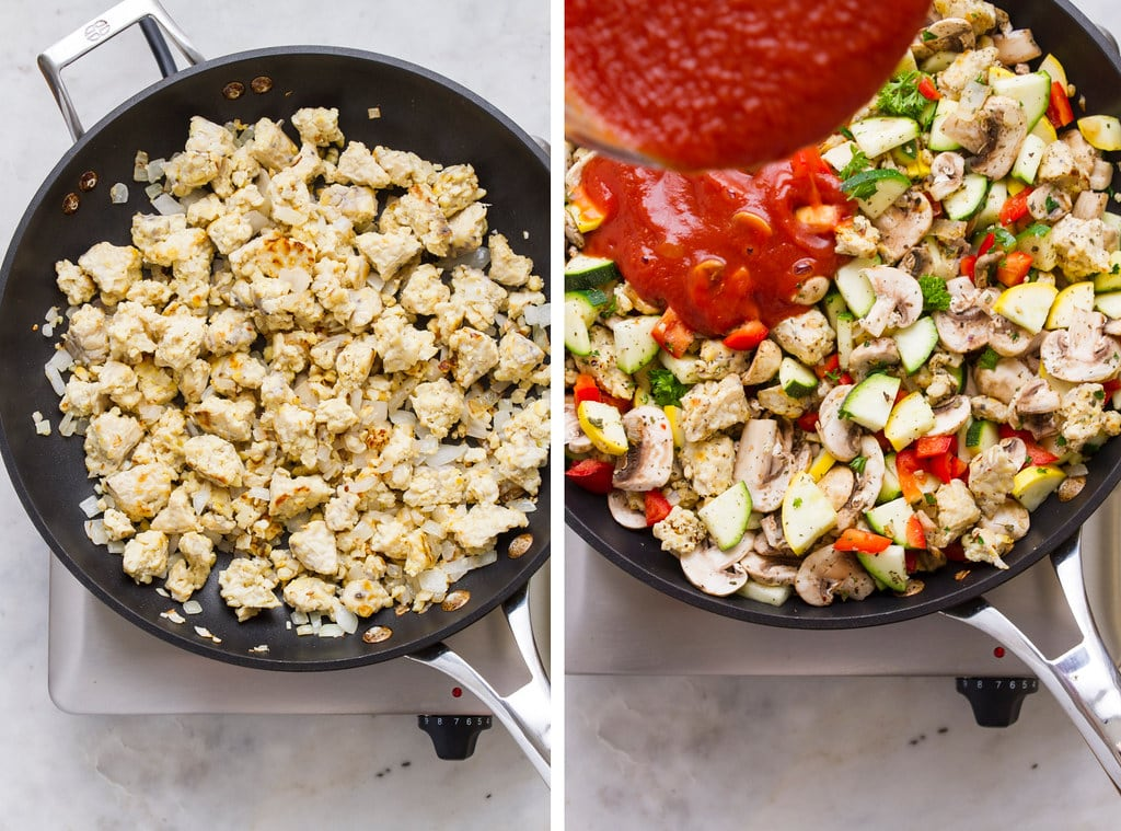 side by side photos showing the process of browning tempeh for vegan stuffed bell peppers.