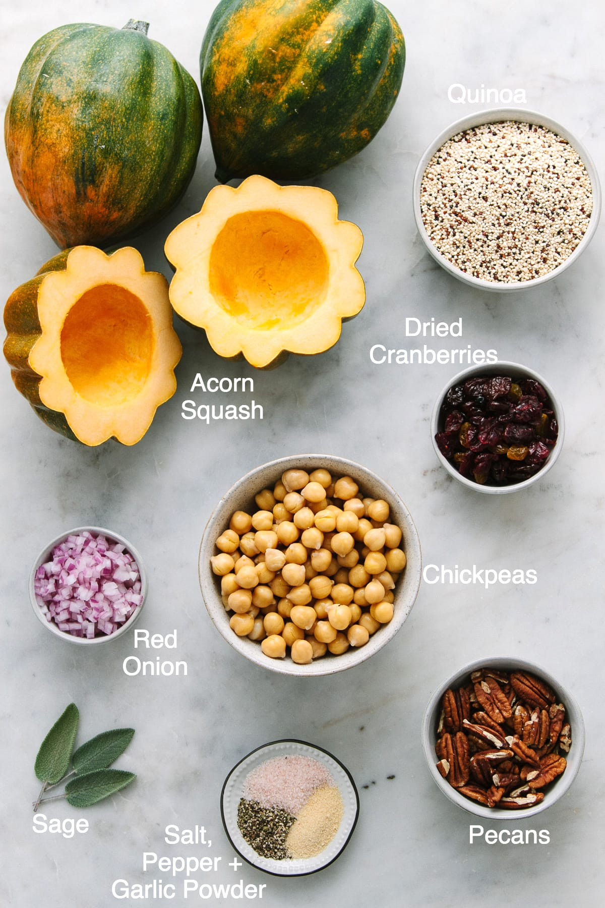 top down view of ingredients used to make acorn squash with quinoa, cranberry, pecans and chickpeas.