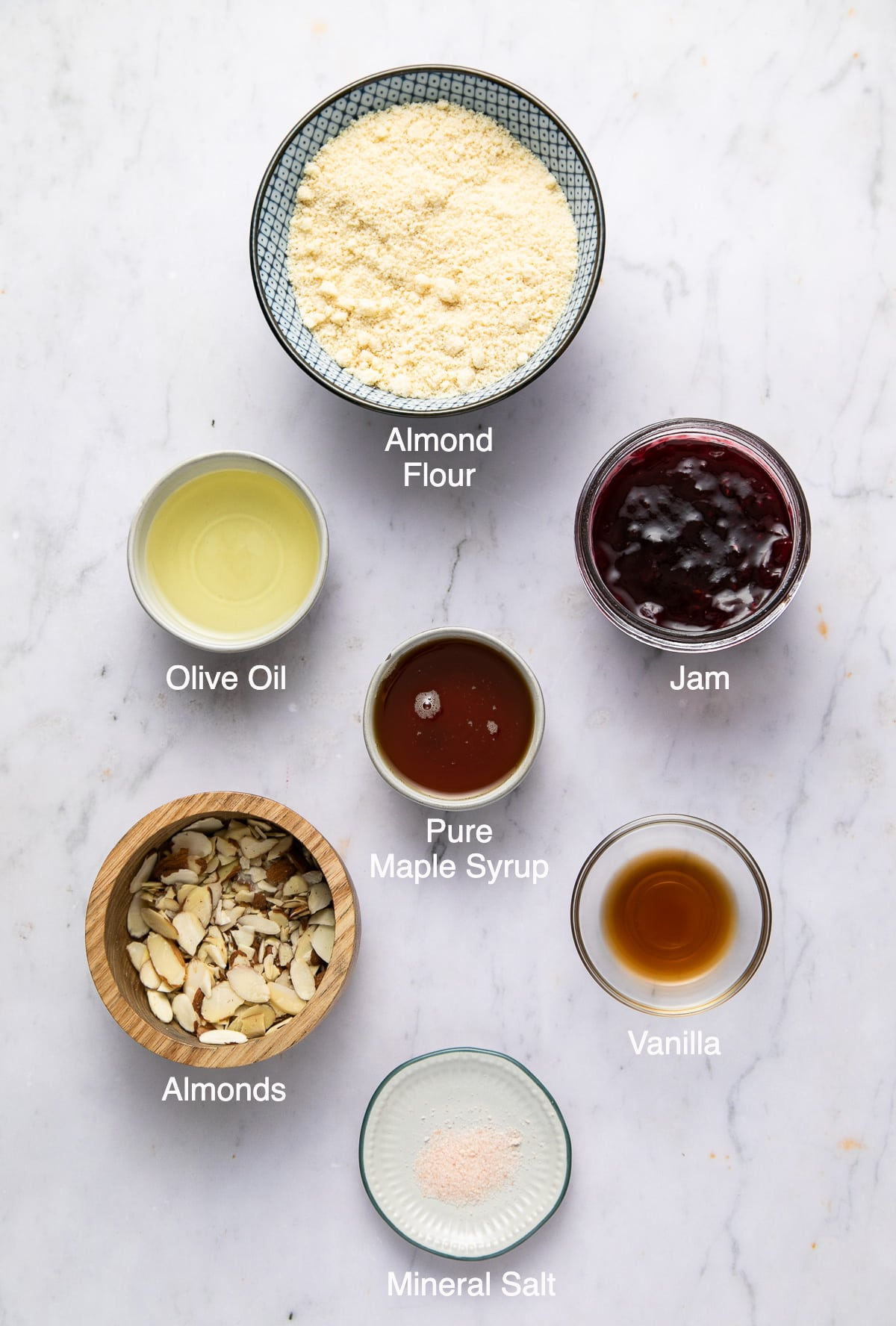 top down view of the ingredients used to make healthy thumbprint cookies.