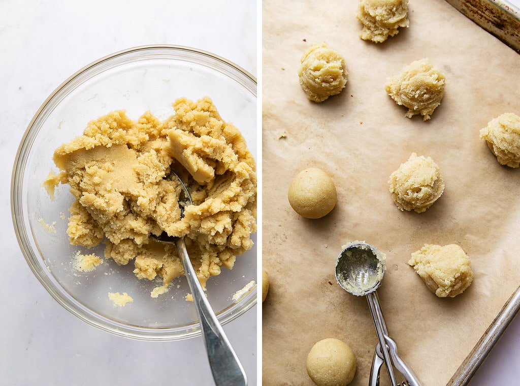 side by side photos showing the process of rolling flourless thumbprint cookie dough.