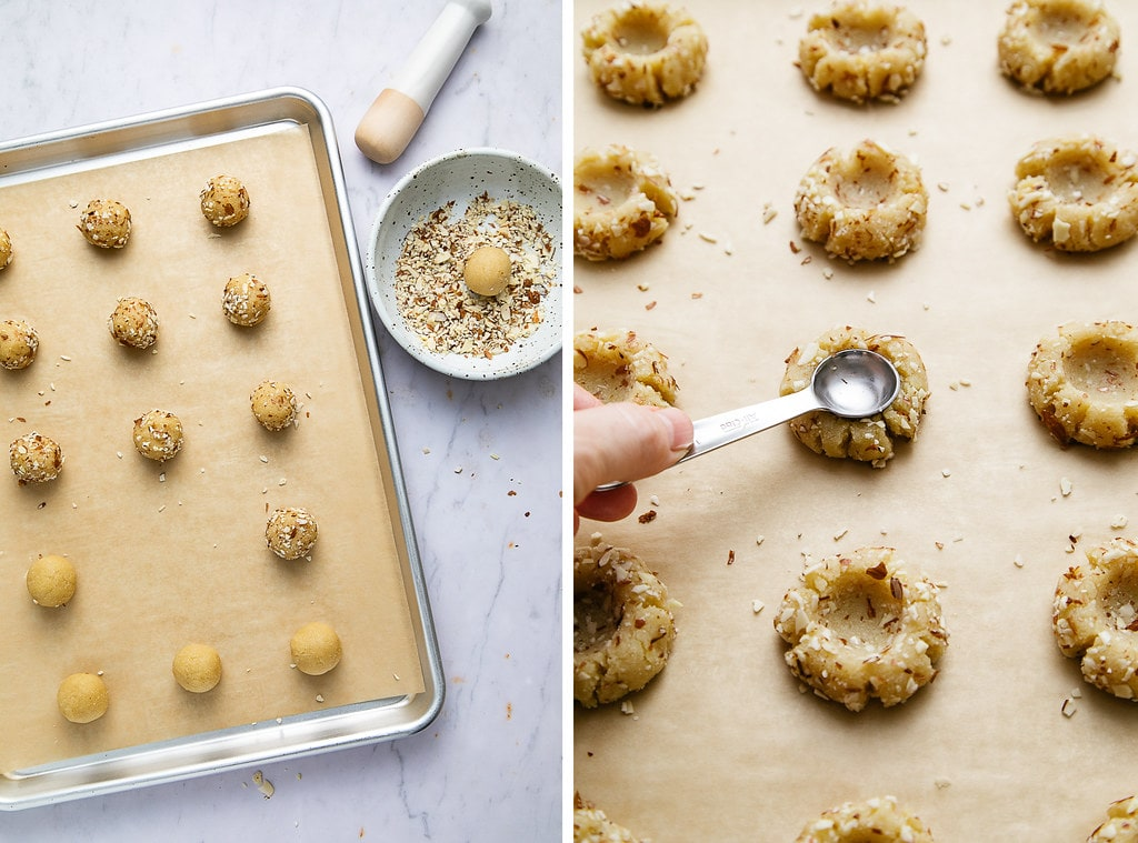 side by side photos showing the process of making low carb almond flour thumbprint cookies.
