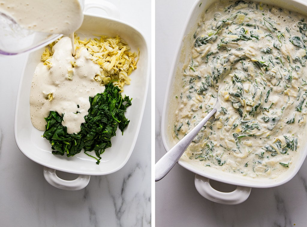 side by side photos showing the process of making healthy vegan spinach artichoke dip.