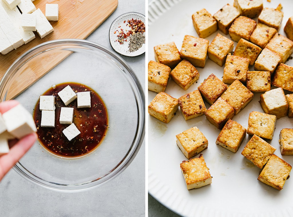 side by side photos showing the process of making crispy tofu.