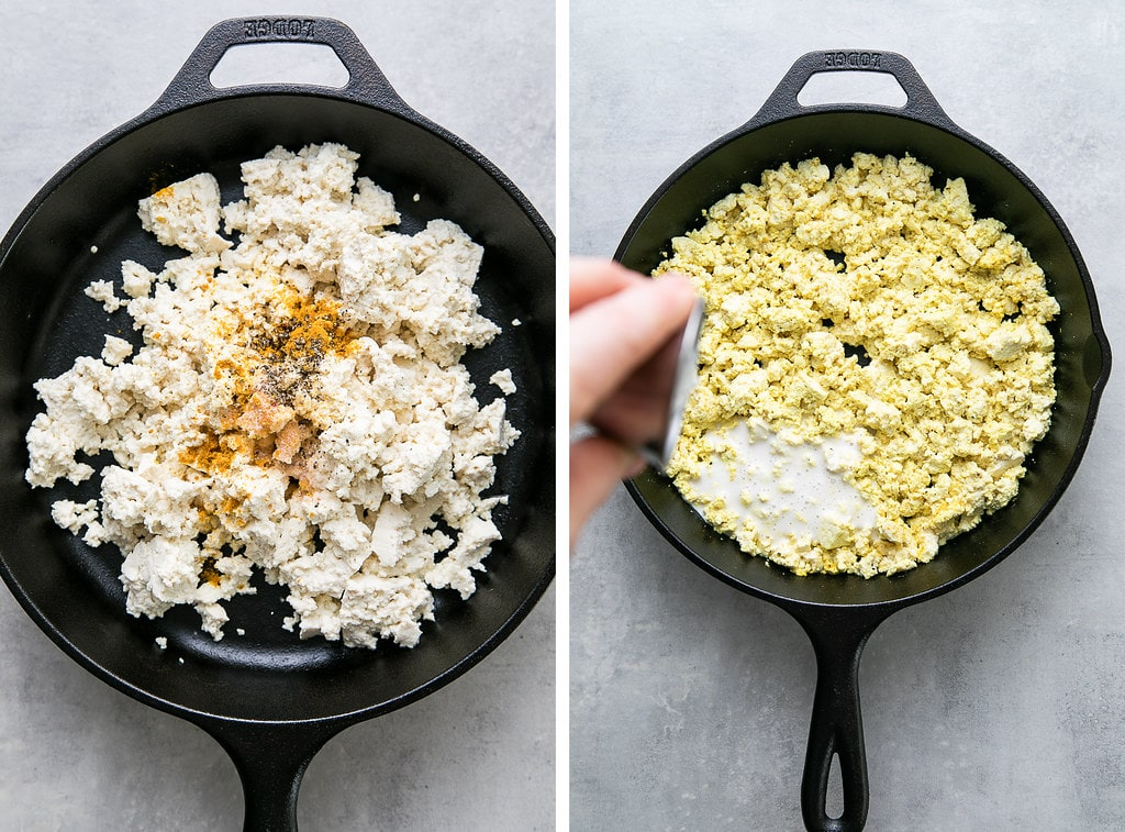 side by side photos showing the process adding spices and cream to make the best classic tofu scramble.