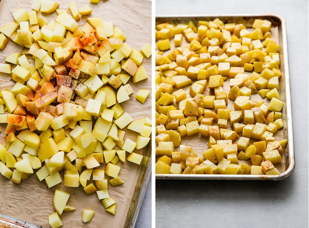 side by side photos showing the process of adding spices to breakfast potatoes before roasting.