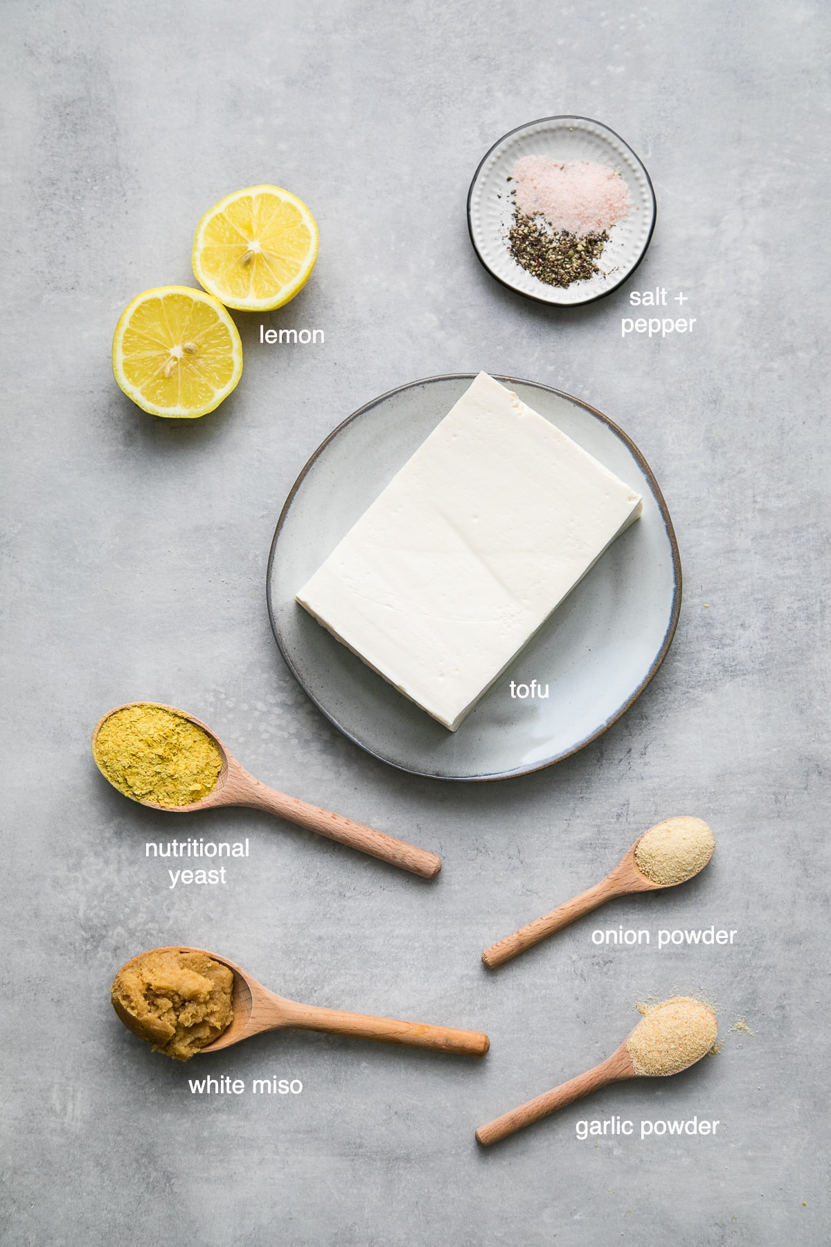 top down view of ingredients used to make tofu ricotta.