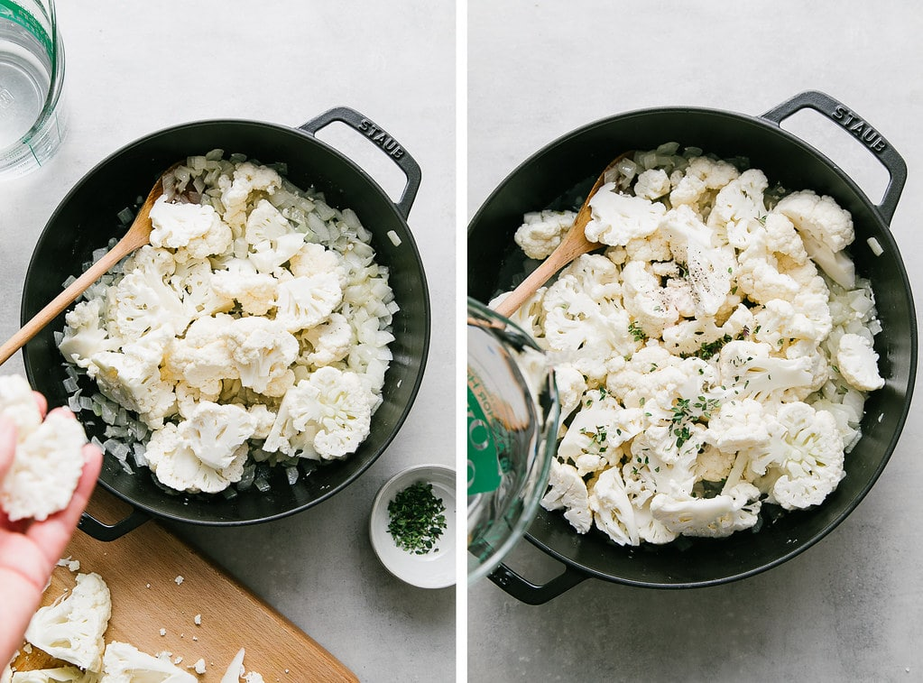side by side photos showing the process of making the best vegan cauliflower soup.