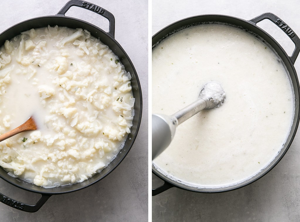 side by side photos showing the process of pureeing creamy cauliflower soup with stick blender.