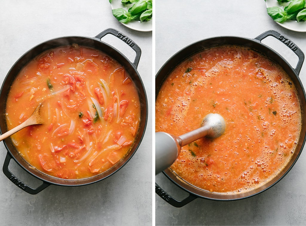 side by side photos showing the process of pureeing tomato basil soup in a pot with stick blender.