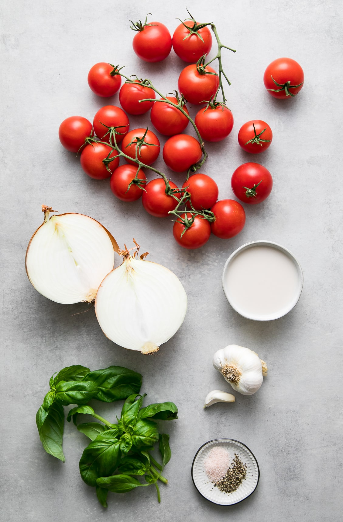 top down view of ingredients used to make easy tomato basil soup recipe.