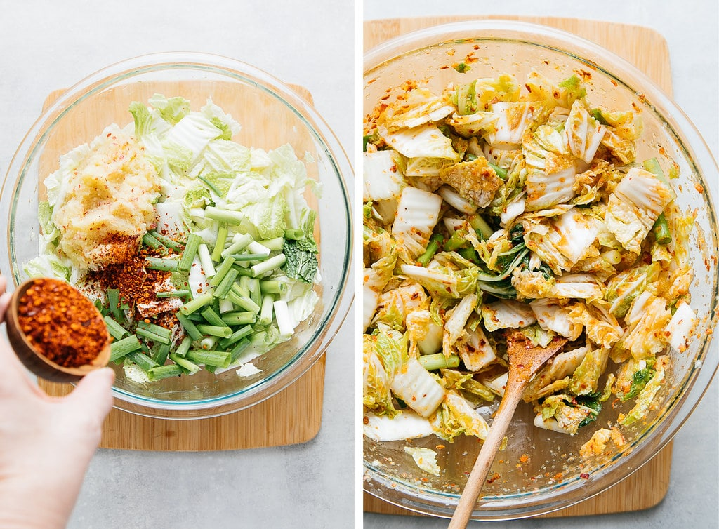top down view showing the process of mixing vegan kimchi.
