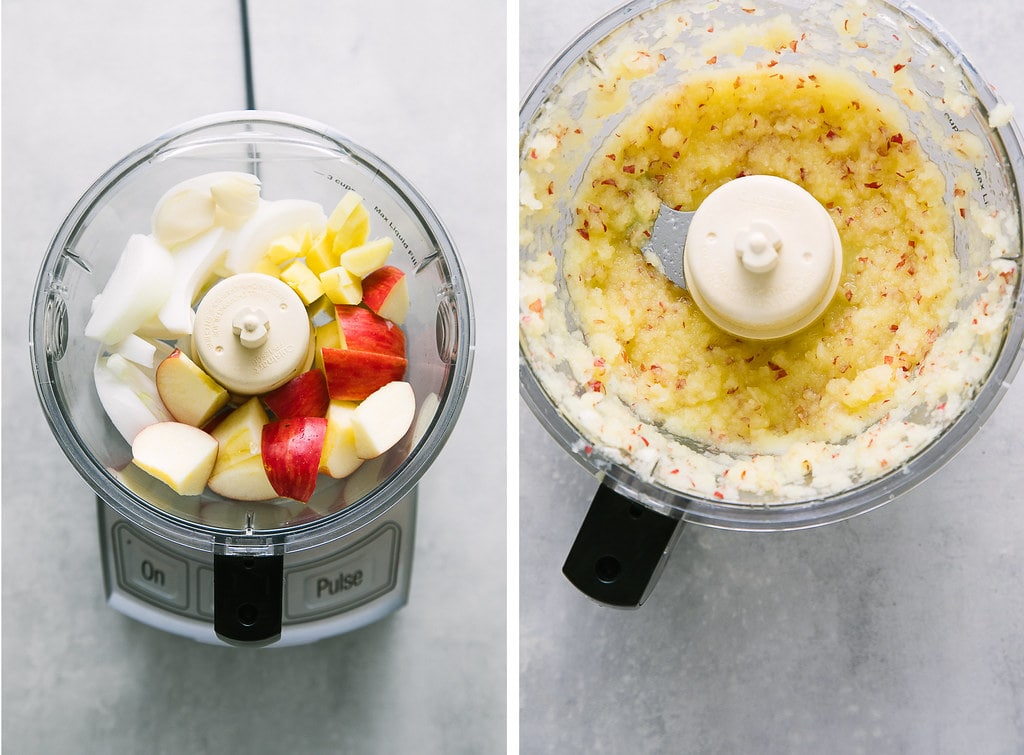 side by side photos showing the process of making kimchi seasoning.