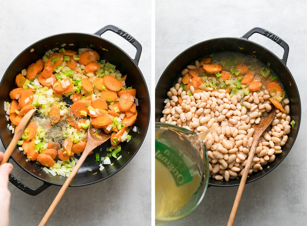 side by side photos showing the process of making easy white bean soup.