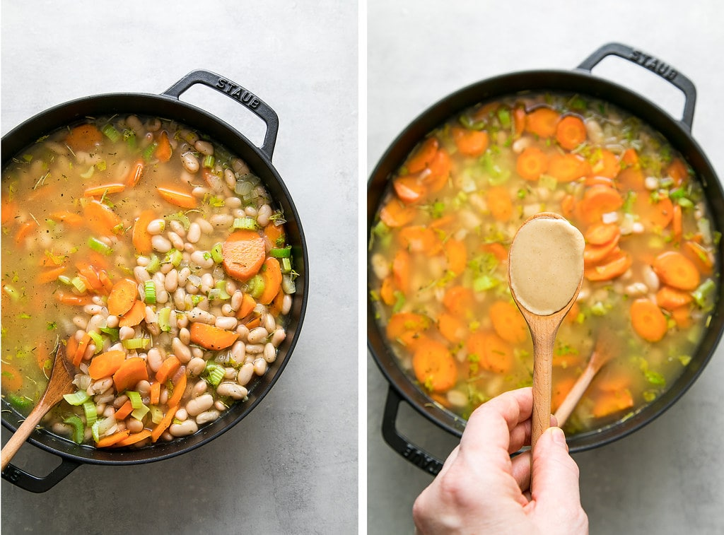 side by side photos showing adding creamy tahini to white bean soup.