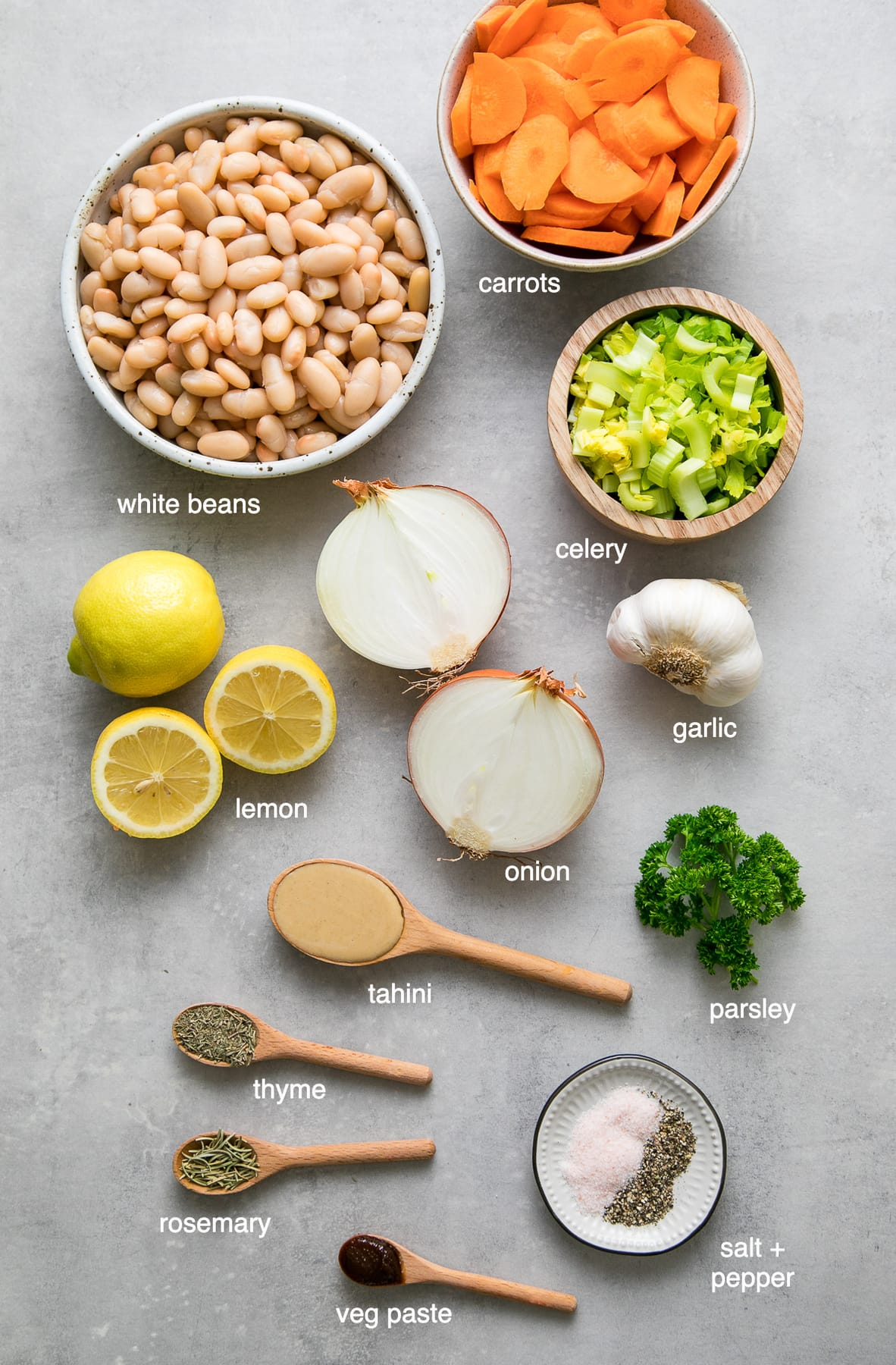 top down view of ingredients used to make healthy lemony white bean soup.