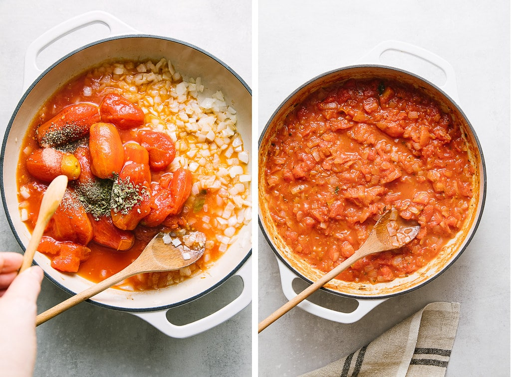 side by side photos showing the process of making marinara sauce.