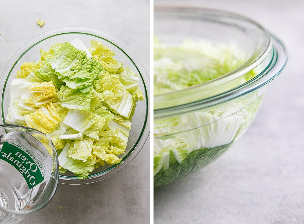 top down view showing the process of brining cabbage for kimchi.