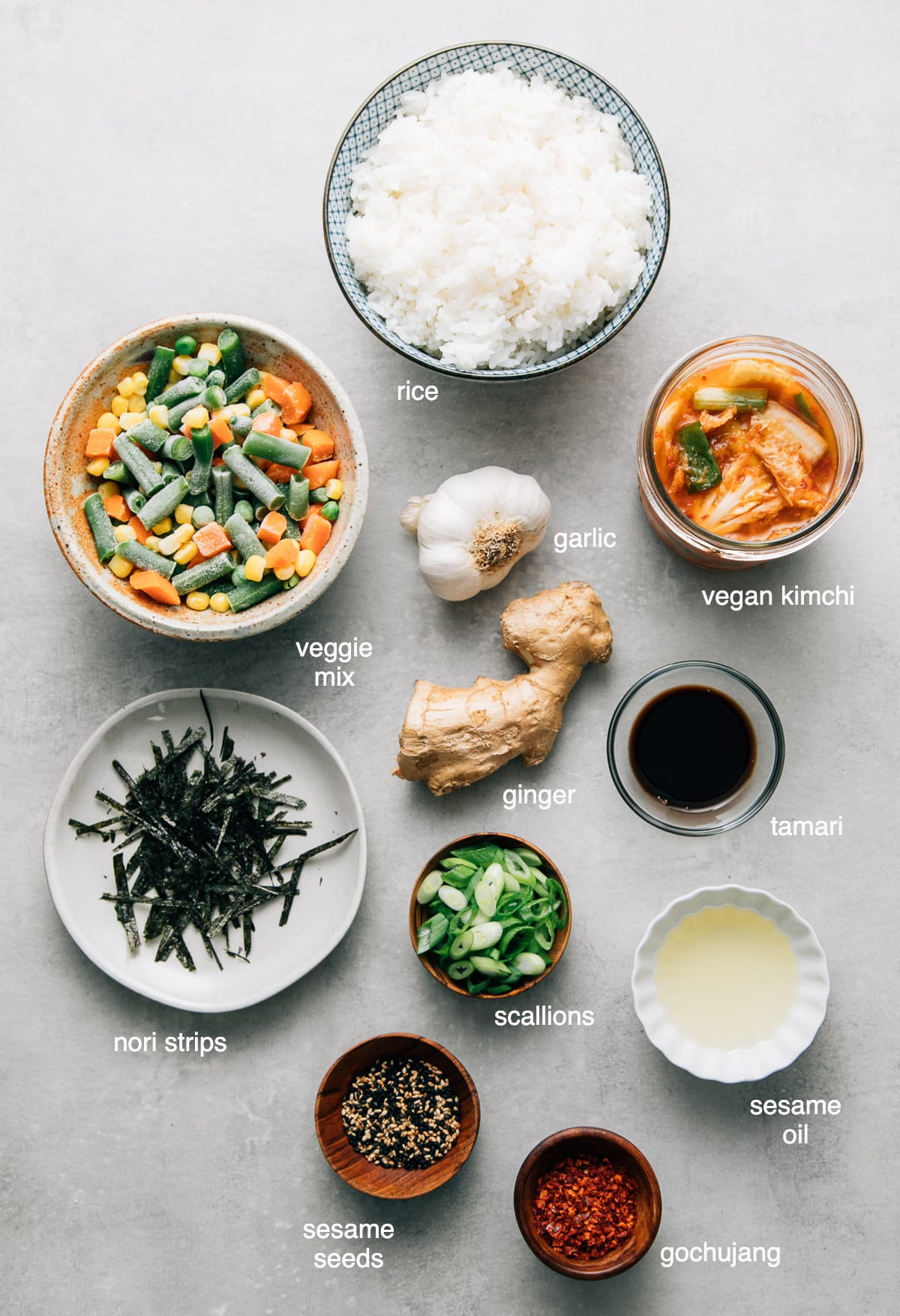 top down view of ingredients used to make vegan kimchi fried rice recipe.
