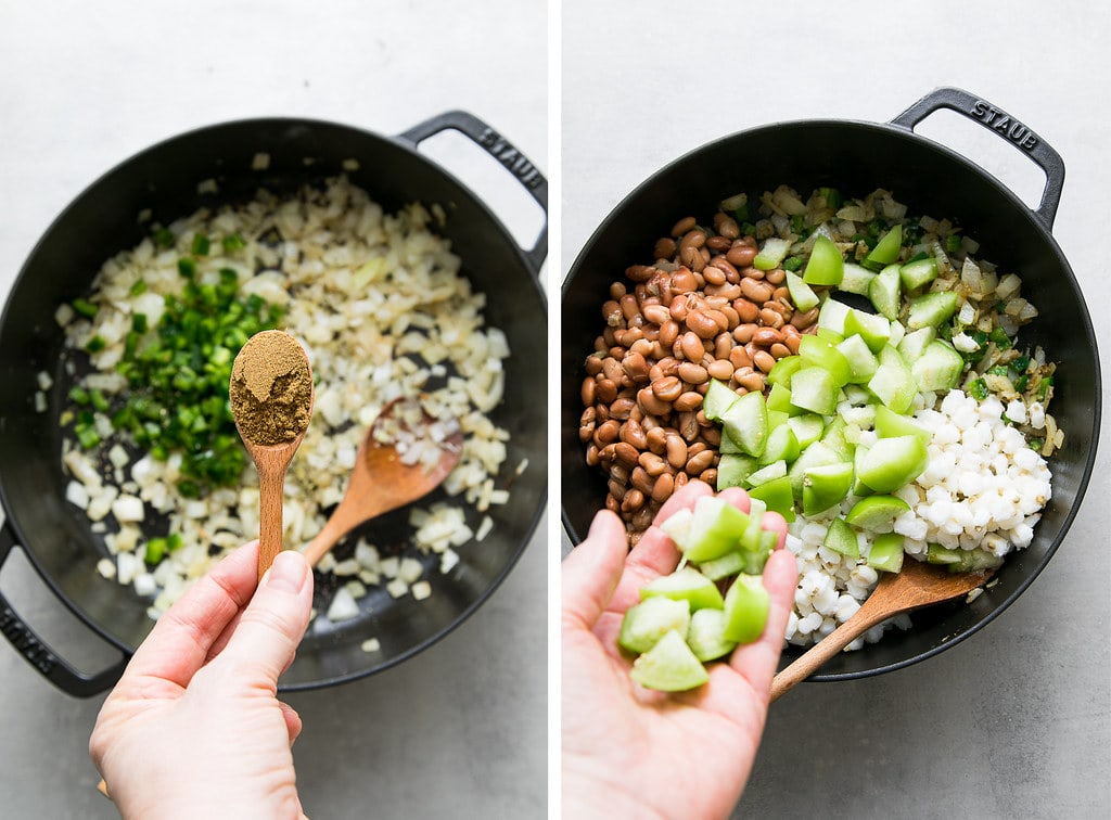 side by side photos showing the process of making posole verde.