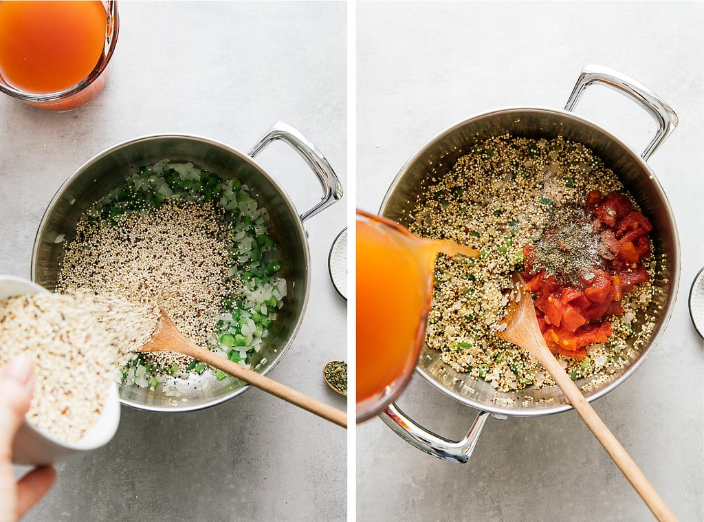 side by side photos showing the process of making quinoa Spanish rice.