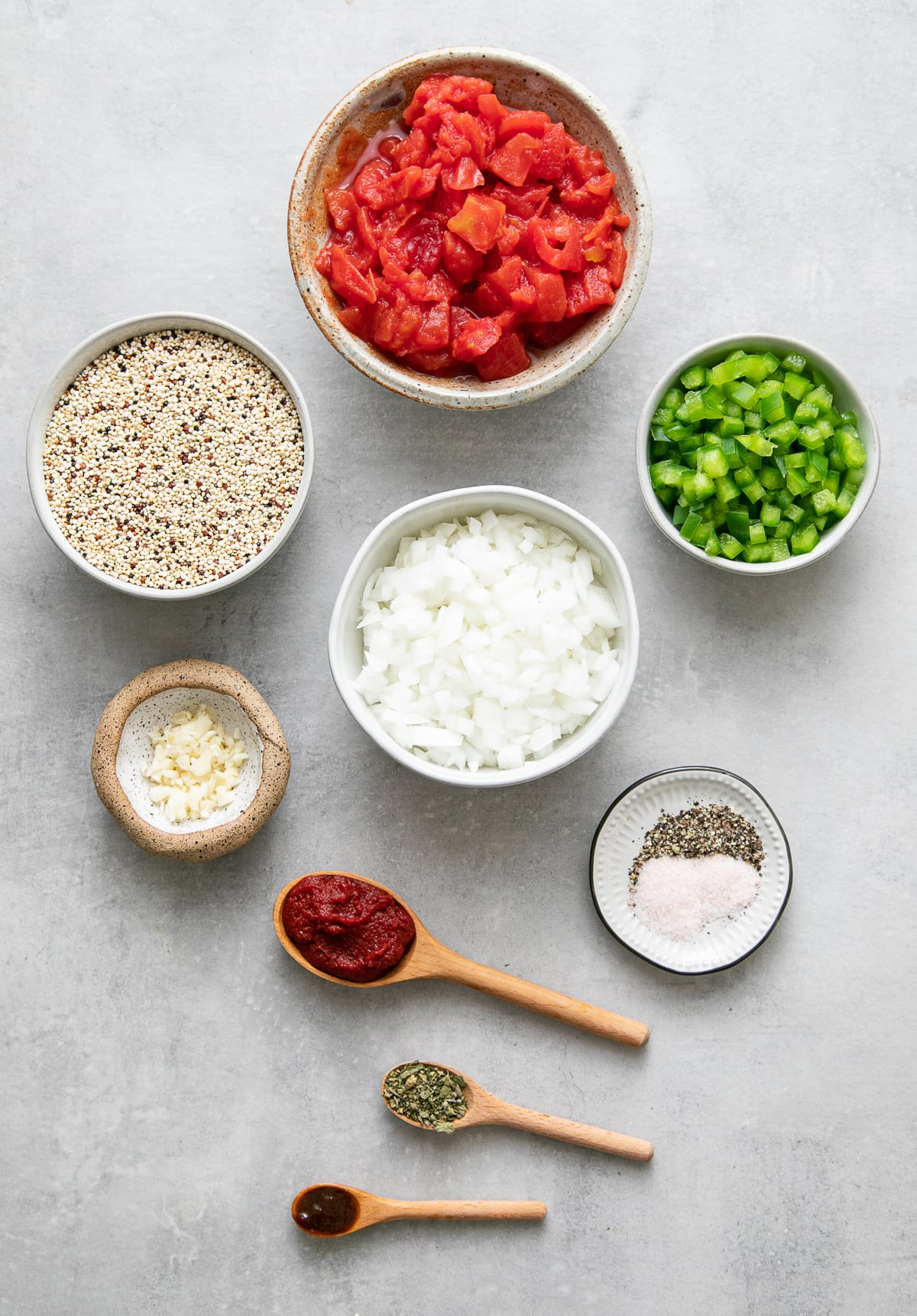 top down view of ingredients used to make quinoa Spanish rice.