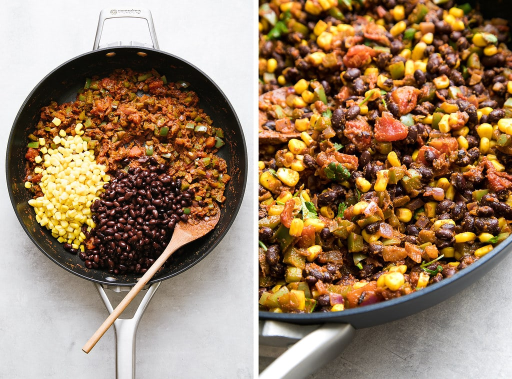 side by side photos showing the process of making vegan burrito filling in a pan.