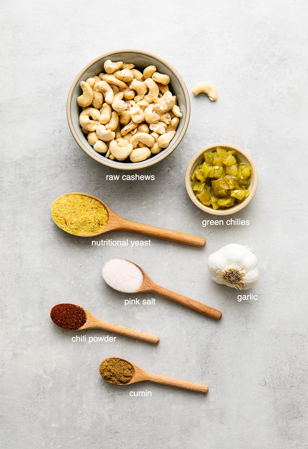 top down view of ingredients used to make cashew vegan queso.