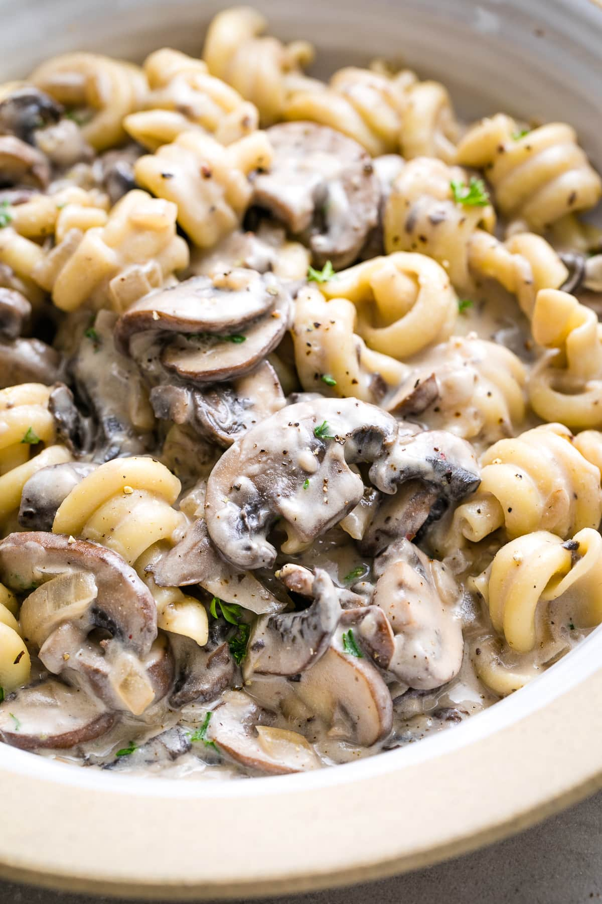 side angle view of creamy vegan mushroom stroganoff in a bowl.