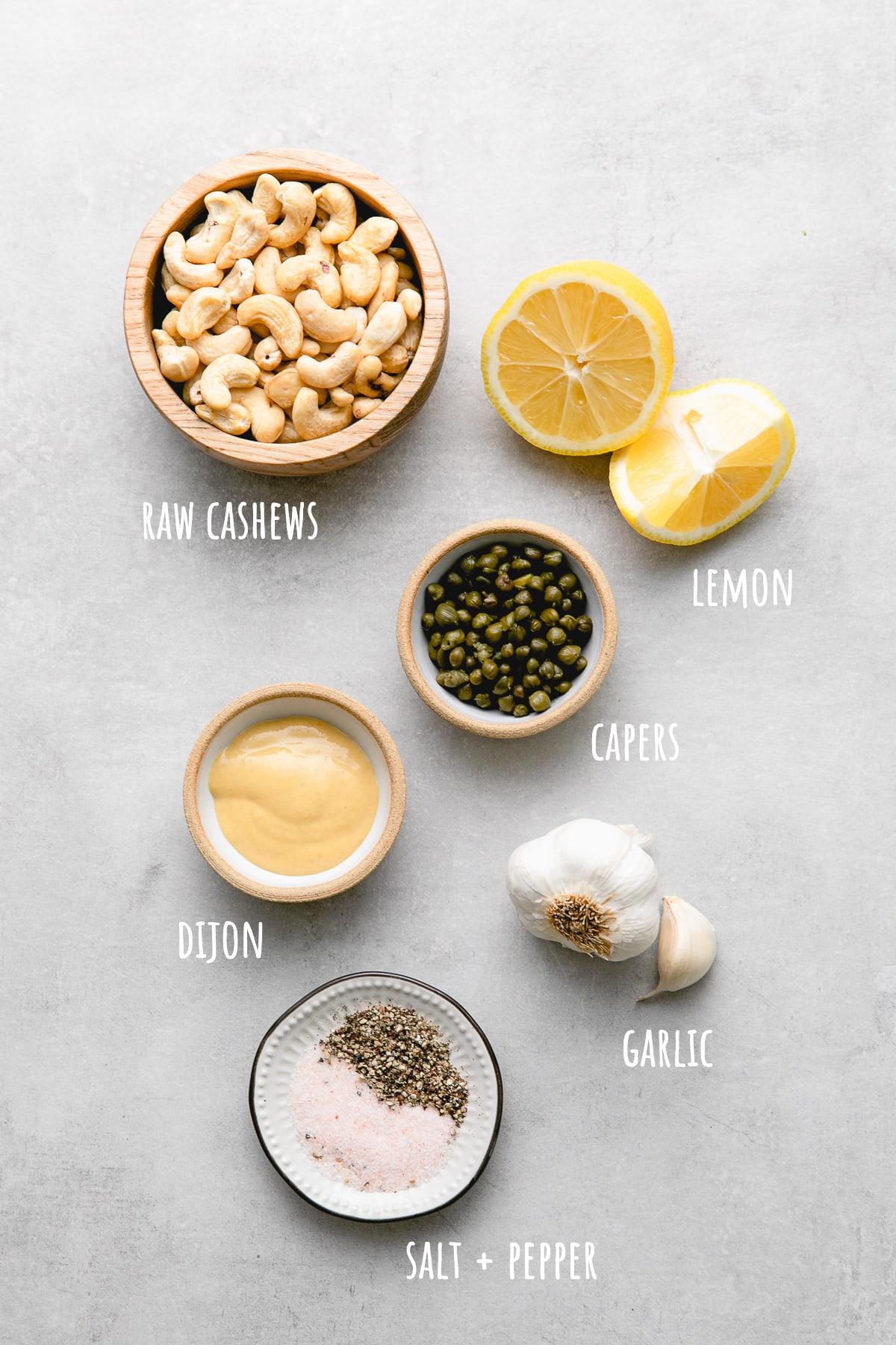 top down view of ingredients used to make the best vegan caesar dressing.