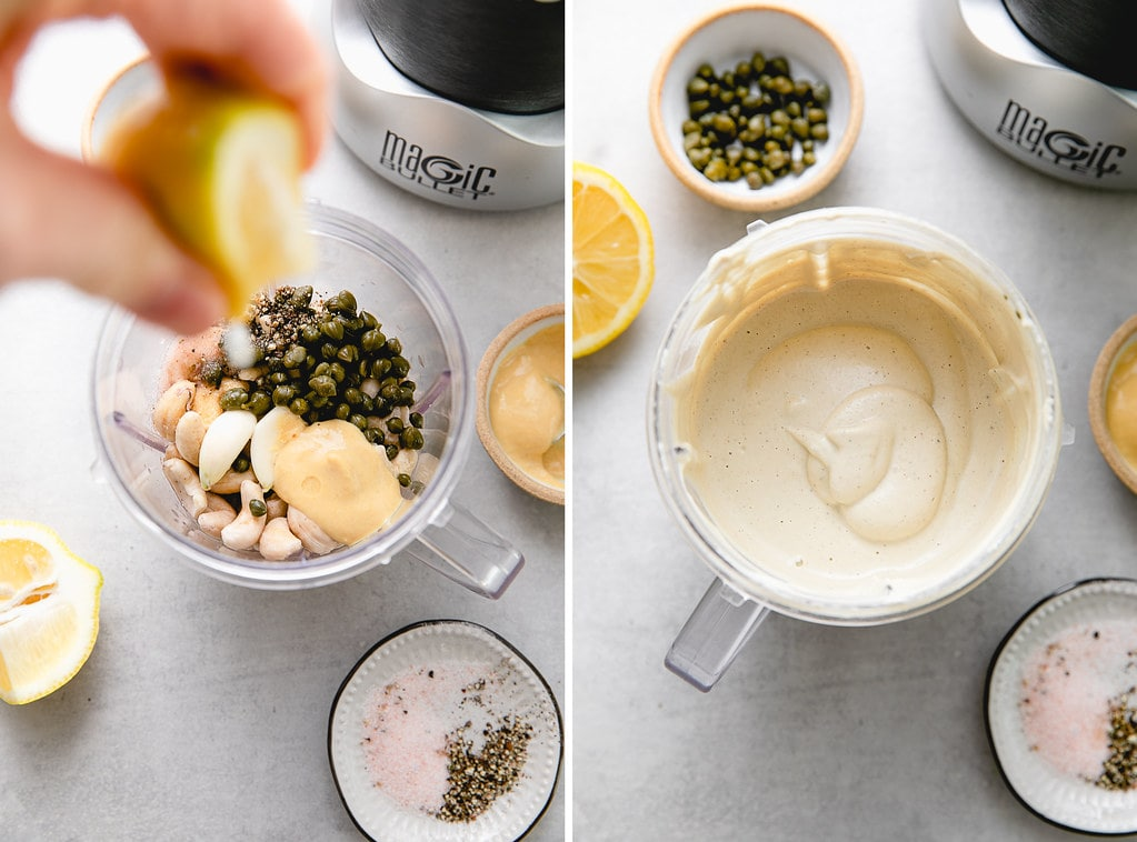 side by side photos showing the process of blending vegan caesar salad dressing.